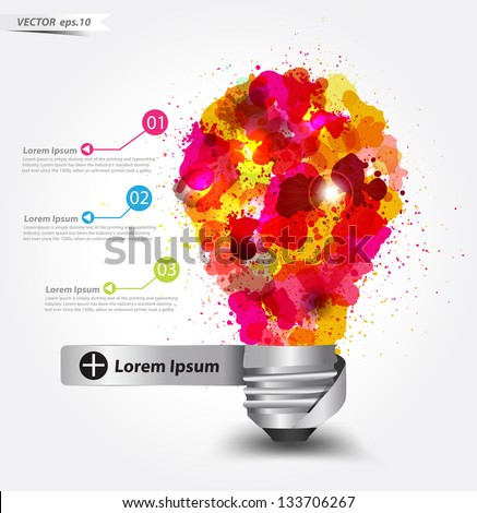 Creative light bulb idea with watercolor splatter, Vector illustration template design - stock vector