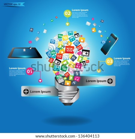 Creative light bulb with cloud of colorful application icon, Business software and social media networking service concept, Vector illustration modern template design - stock vector