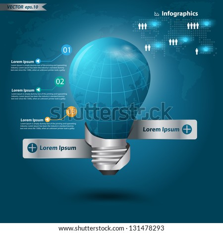 Creative light bulb, With globe modern template design Vector illustration - stock vector