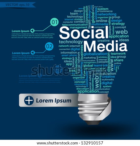 Creative light bulb with social media concept of word cloud, Vector illustration modern template design - stock vector