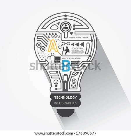 Creative lightbulb abstract circuit technology info graphic.vector - stock vector
