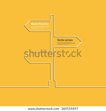 Creative linear direction arrow sign. The concept of choosing the direction of the road junction. Vector - stock vector