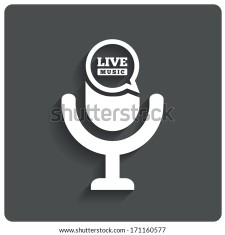 Creative Live music icon. Microphone symbol. Speech bubble. Karaoke sign. Vector illustration. - stock vector