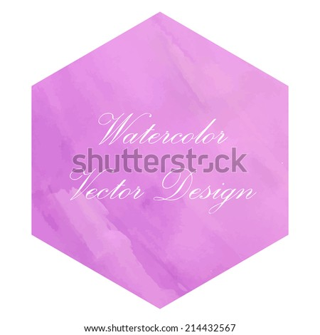 Creative magenta lilac watercolor painting. Hexagonal background design made in a vector. - stock vector
