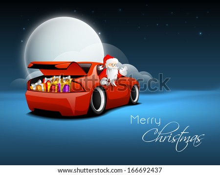 Creative Merry Christmas concept with happy Santa Claus carrying gifts in his car on blue night background.  - stock vector