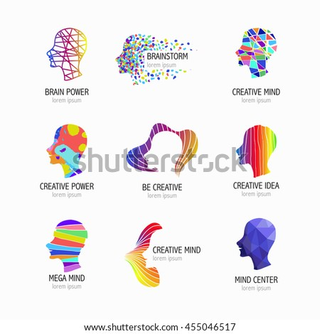 Creative mind, learning and design icons. Man head, people symbols. Vector illustration - stock vector