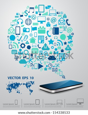 Creative mobile phones with speech bubble cloud of application icon, Business software and social media networking online store service idea concept, Vector illustration modern template design - stock vector
