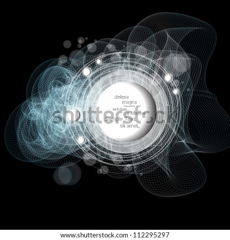 Creative modern abstract vector speech bubbles witj lines background - stock vector
