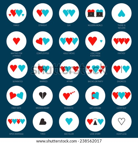 Creative modern concept of different types of love, relashions, families. Flat illustration of marriage, gay, straight. Hearts representing love concept with humor, made in vector. - stock vector