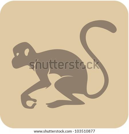 Creative Monkey Icon - stock vector