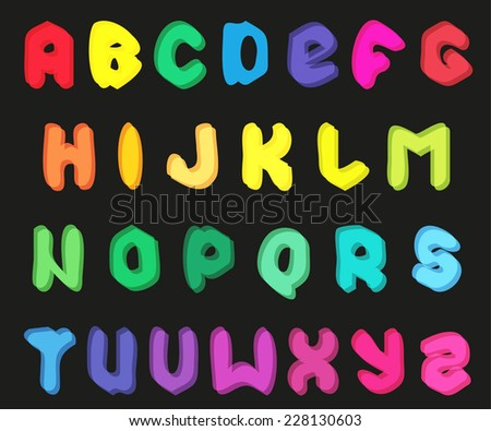 Creative multicolor alphabet set on black background. Vector illustration EPS 10 - stock vector