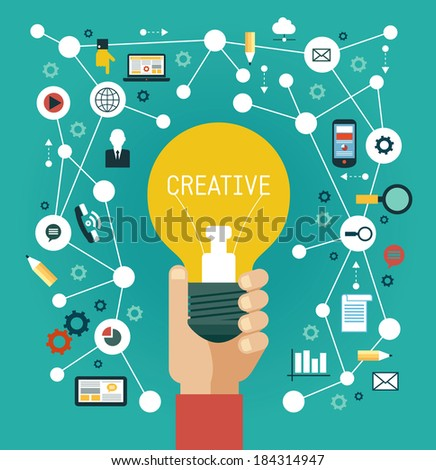 Creative network concept. Human hand with a bulb surrounded by media icons - stock vector