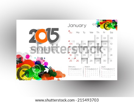 Creative New Year Calendar 2015 Background.  - stock vector