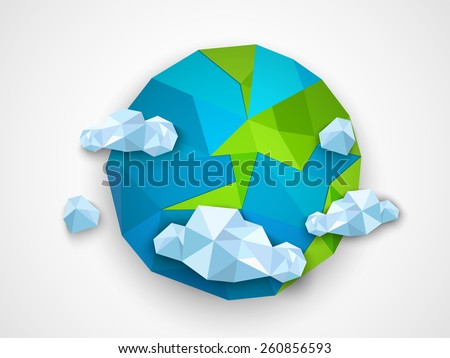 Creative origami globe with clouds on grey background for Earth Day celebration. - stock vector