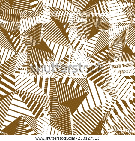 Creative overlapping continuous lines pattern, neutral motif abstract striped background. - stock vector