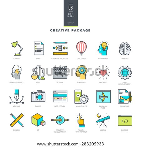 Creative package of line modern color icons     - stock vector