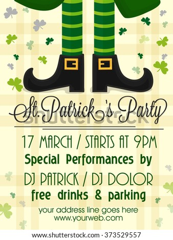 Creative Pamphlet, Banner or Flyer design with illustration of Leprechaun legs for St. Patrick's Day Party celebration. - stock vector