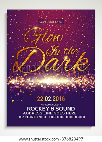 Creative Party Flyer, Template or Banner design with golden text Glow in the Dark on sparkling background. - stock vector