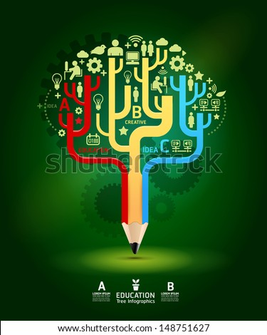 Creative pencil  concept Growth Tree idea, Vector illustration Modern template Design / can be used for infographics / numbered banners / horizontal cutout lines / graphic or website layout vector - stock vector