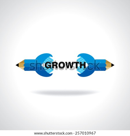 creative pencil hand connecting growth idea concept - stock vector