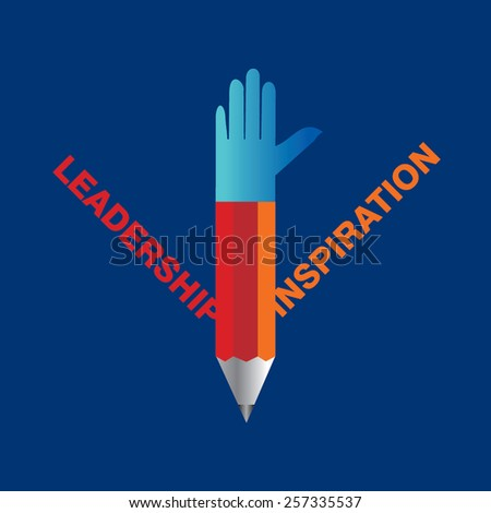 creative pencil hands leadership and inspiration concept vector - stock vector