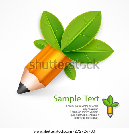 Creative pencil with green leaves on white, vector illustration  - stock vector