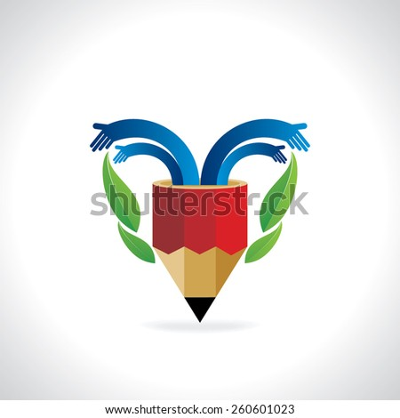 creative pencil with hands and green leaf  - stock vector