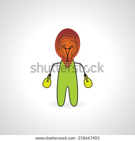 creative peoples creating with bulb head and hand - stock vector