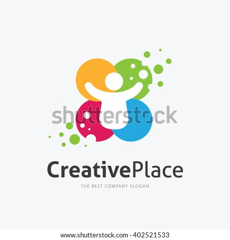 Creative Place Logo,People logo design template - stock vector