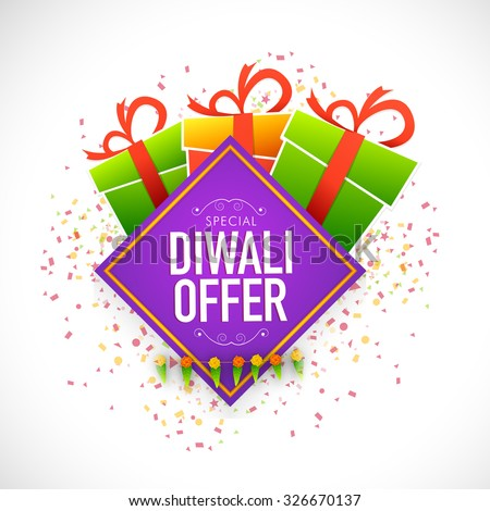 Creative poster, banner or flyer design with shiny colourful gift box and ribbon for Special Diwali Offer. - stock vector