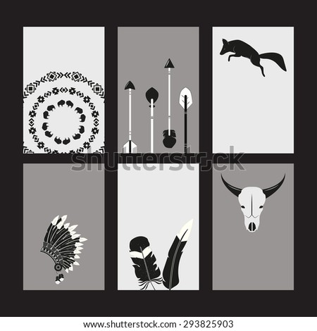 Creative printable cards set with tribal animals, objects and ornaments - stock vector