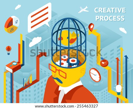 Creative process. Thought and creation, thinking and invention and solution Gears in human head. Vector illustration - stock vector