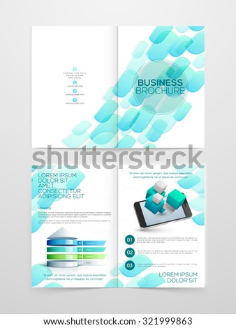 Creative professional Two page Business Brochure, Flyer, Banner or Template with smartphone. - stock vector