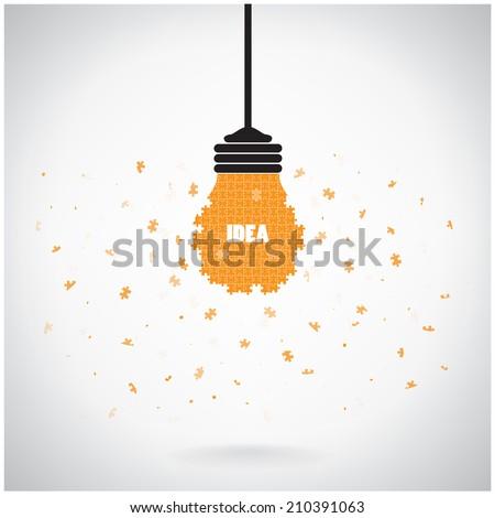 Creative puzzle light bulb Idea concept background ,design for poster flyer cover brochure,education concept ,business idea.vector illustration - stock vector