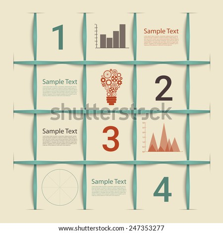 Creative retro style squers infographic template. Esp10 vector for your design - stock vector