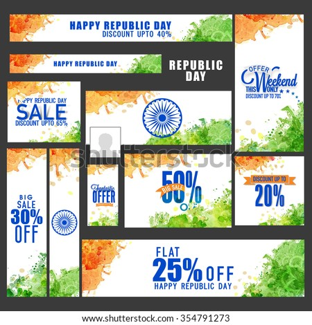 Creative Sale social media ads, post, headers or banners with best discount offers for Happy Indian Republic Day celebration. - stock vector
