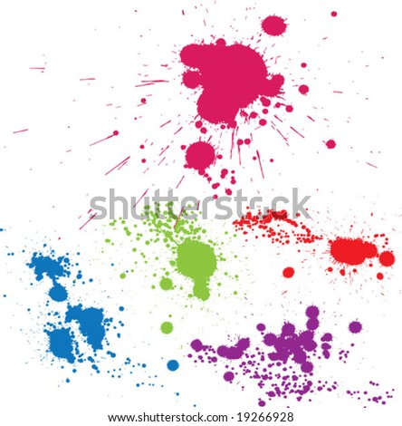Creative set of inkblot silhouettes. vector - stock vector