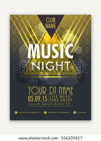 Creative shiny Template, Banner or Flyer design for Musical Night Party celebration. - stock vector