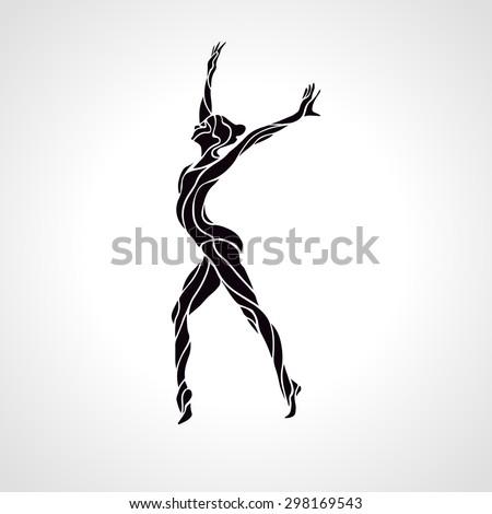 Creative silhouette of gymnastic girl. Art gymnastics, black and white vector illustration - stock vector