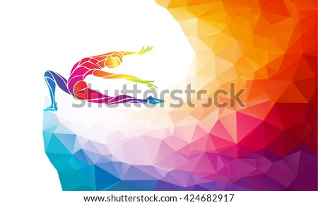 Creative silhouette of gymnastic girl. Art gymnastics, colorful vector illustration with background or banner template in trendy abstract colorful polygon style and rainbow back - stock vector