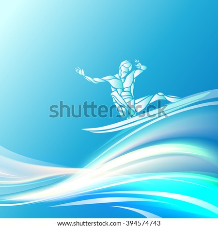 Creative silhouette of surfer - stock vector