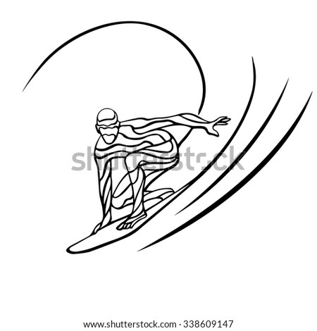 Creative silhouette of surfer. Abstract silhouette of the surfer at the ocean. Vector illustration - stock vector