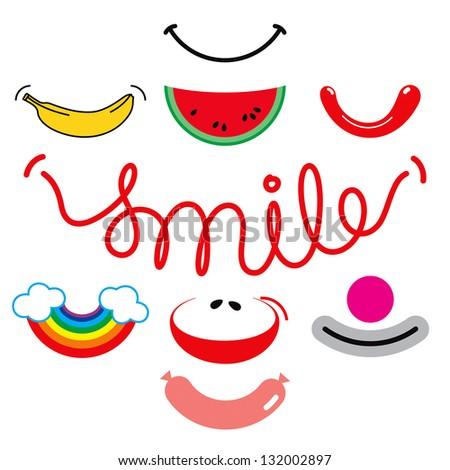 Creative smiles set. - stock vector