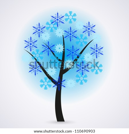 Creative snowflakes tree on gray background. Eps 10 - stock vector