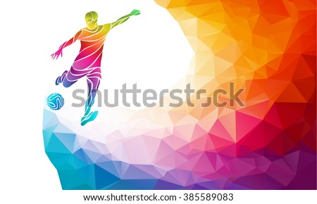 Creative soccer player. Football player kicks the ball, colorful vector illustration with background or banner template in trendy abstract pectrum polygon style and rainbow back - stock vector