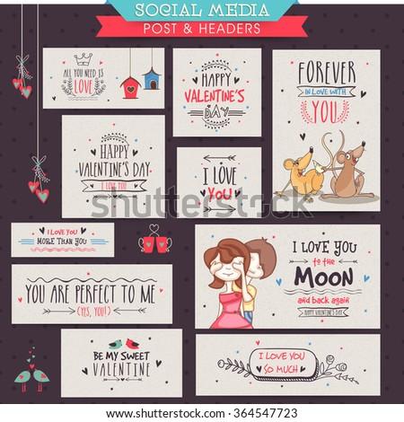 Creative Social Media post and header set for Happy Valentine's Day celebration. - stock vector