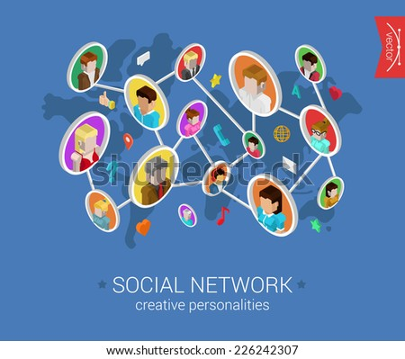 Creative social network flat 3d isometric pixel art modern design concept vector. People profiles connected on world map with social media icons. Web banners illustration website click infographics. - stock vector