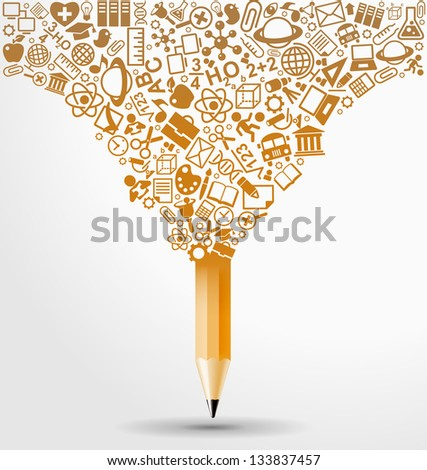 creative splash pencil with school icons set illustration. concept learning. the study of science. this work - eps10 vector file, contain transparent elements and mesh gradients - stock vector