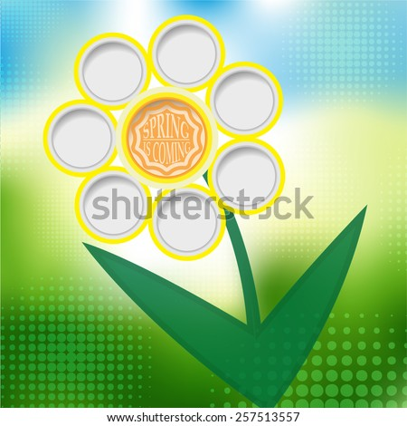 Creative Spring Sale Background . Spring Flower and Typography Sticker, Tag , Banner or Tag on Green Background . Vector Illustration . - stock vector
