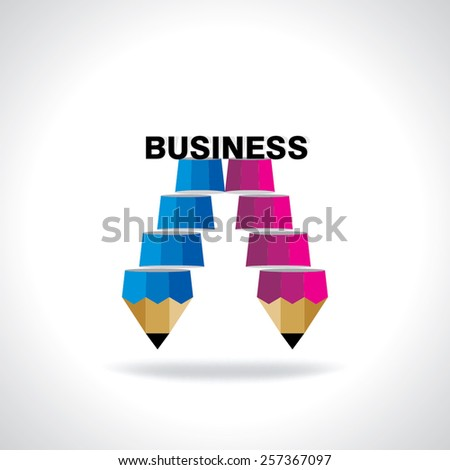 creative stair pencil top of the business idea concept  - stock vector